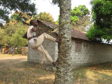 Palmkletterer mit Gurt aus Pflanzenmaterial