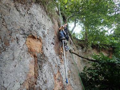 Arbeiten an der Felswand