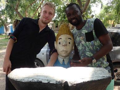 David und Blaise mit Tim im Restaurant Chez Tintin