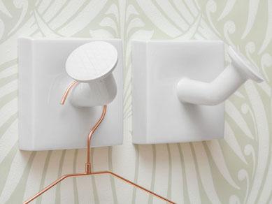Wanhaken Garderobenhaken Porzellan weiß