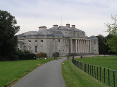 Shugborough Hall. Front facade showing the massive ionic columns.