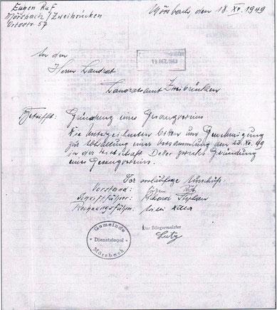 Antrag zur Abhaltung einer Gründungsversammlung vom 18.12.1949