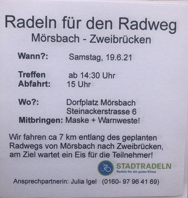 Radeln für den Radweg Mörsbach-Zweibrücken