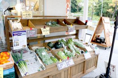 お芋屋さんの外のお野菜販売コーナー