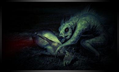ヤギの血を吸うチュパカブラ