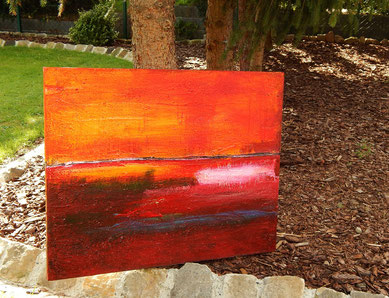 bild abstrakt orange landschaft