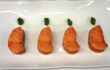 Recette : Dos de saumon mariné, fraicheur de concombre à la menthe