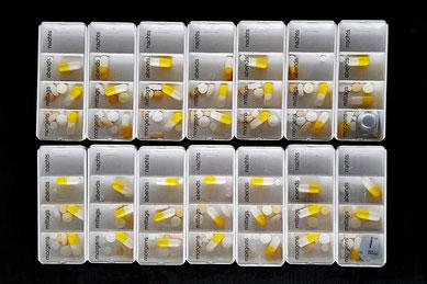 Ration für zwei Wochen: 11-12 Tabletten bzw. 7-8 Wirkstoffe am Tag