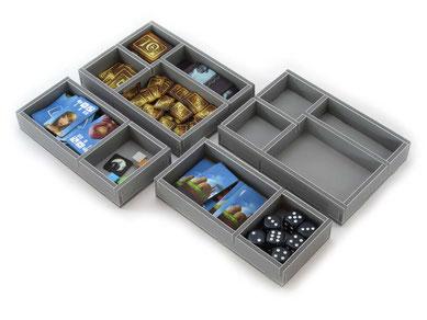 folded space insert organizer above and below foam core