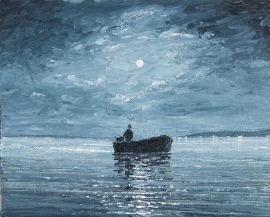 Vollmond über Fischerboot (Öl auf Leinwand, 12 x 15 cm)