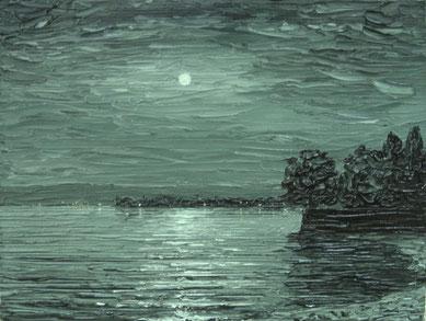 Mondnacht bei Berlingen ,CH (Öl auf Leinwand, 12 x 16 cm)