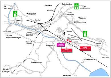 Anfahrtsplan zum  AIR FORCE CENTER Dübendorf