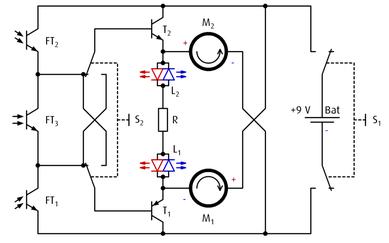 Die Schaltung des varikabo Roboters mit 3 schwenkbaren Sensoren