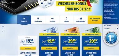 Foto von 1&1zu den  1&1 DSL Doppel-Flats mit angegebenen Preisen und Wechselbonus nur bis 31.12.2014