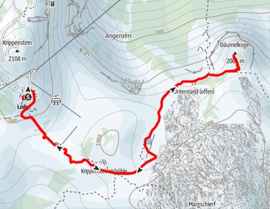 Routenverlauf von der Dachstein Lodge auf den Däumelkogel