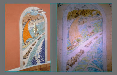 Wall mosaic for a shower of a Hotel , left  the old work draw