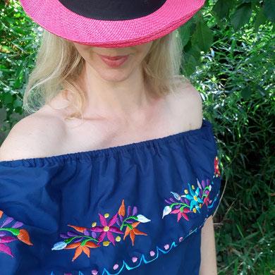 Damenbluse, Tunika, Sommerkleid, Sommertop, Blumentop, Tunika aus Mexiko, Kleid aus Mexiko, besticktes buntes Kleid aus Mexiko, Tunika mit Stickerei aus Mexiko, mexikanische Tunika / Bluse / Kleid / Top