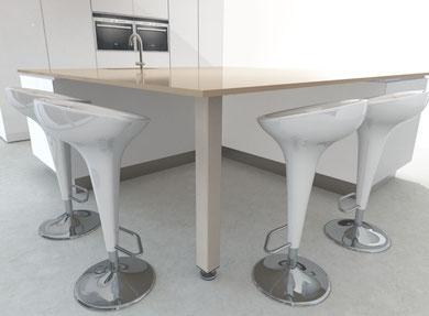 pied de table cuisine carré avec vérin de réglage
