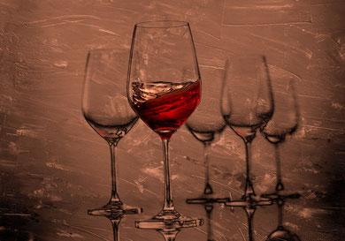 Weingläser 01 auf Leinwand