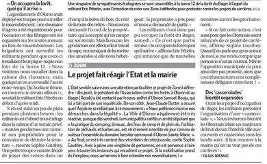 La ZAD fait réagir les pouvoirs publics -Oloron - Pyrénées Atlantiques - 64
