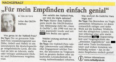 """Jülicher Nachrichten: """"NACHGEFRAGT"""" (8.9.2009, Seite 13, Nr.208, korrigierte Version)"""