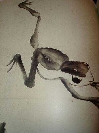 Peinture à l'encre de chine à la détrempe.