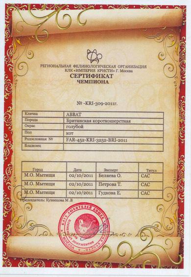 Сертификат чемпиона - Аббата