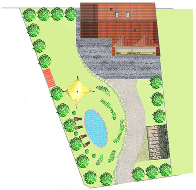 / Planimetria - Giardino con piscina e posto auto coperto