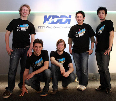 Fridtjof, Matthias и Christian вместе с Hiromitsu Miyanishi и Teppei Takahata из японской команды Jimdo