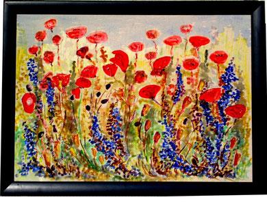 39 Mohnblumenfeld jedes Ölbild mit Rahmen Grösse 58x78