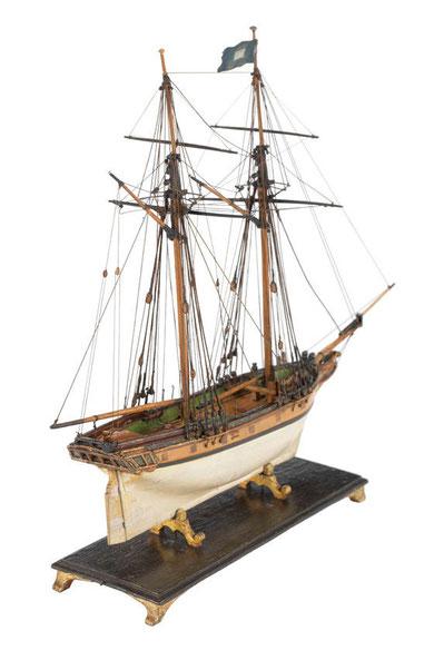Petite goélette anglaise daté de 1780, certainement semblable à celle amarinée par Balidar (National Maritime Museum)