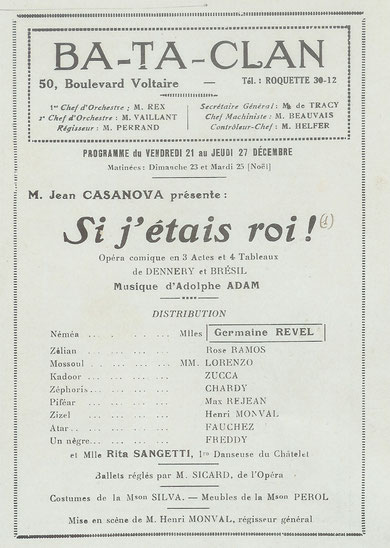 Programme du Bataclan de décembre 1928