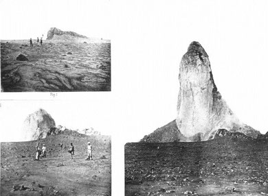 Etapes de la formation du dôme de lave visqueuse de la montagne Pelée (réunion) en 1902. Sources:Photographies  A. Lacroix - 1902
