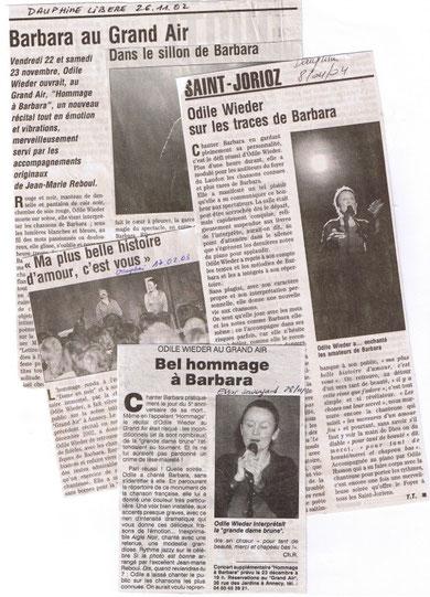 Article presse Odile Wieder - Concert Barbara