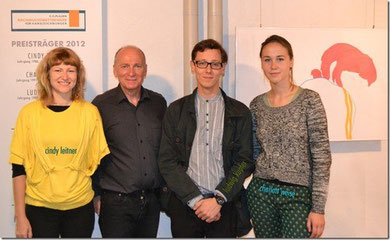 2012, the winners of the e.o.plauen prize for hand drawings under 25 with gallerist Peter Hochel at Malzhaus Gallery in Plauen, Germany
