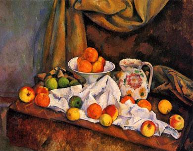 ポール・セザンヌ「リンゴのある静物」1892-1895年、バーンズ美術館