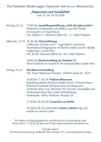 """Programm Aktionswoche """"Depression und Suizidalität"""""""