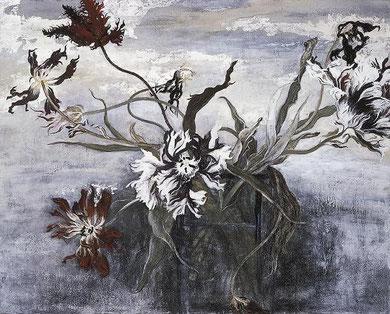 萎れたチューリップ Wilted Tulips  (Japanese paper, Silver leaf, Pigments, Glue)