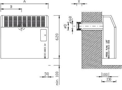 Abmessungen GR Heizer, Gasradiator, Ausenwandheizer