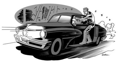 Doc Wilde rides the running board of his Tucker Torpedo