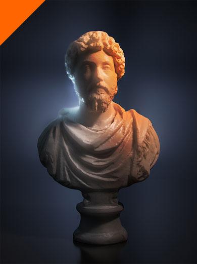 Estudio de la luz y el color sobre busto en mármol. Proyecto 3D para docencia en U-Tad