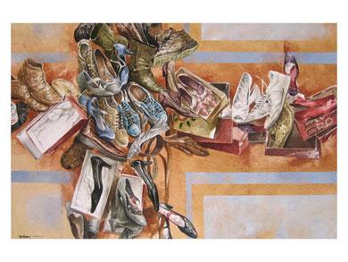 El guante de la utopía (Homenaje a Eduardo Galeano). Seleccionado en la II bienal internacional de nuevas técnicas a la acuarela, museo Rafael Requena, Caudete-Albacete.