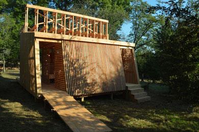 Chantier éco construction - kiosque à musique en bois