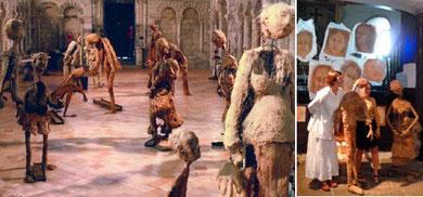 Groupe de sculptures mises en scène ; et Inès chantant au milieu de ses sculptures