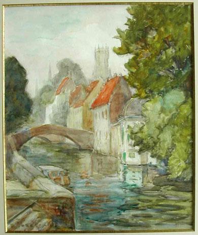 Vue du Quais vert à Bruges vers 1935.