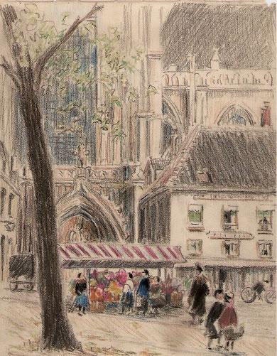 Dessin représentant sans doute la cathédrale de Mantes, rehaussé de couleur.