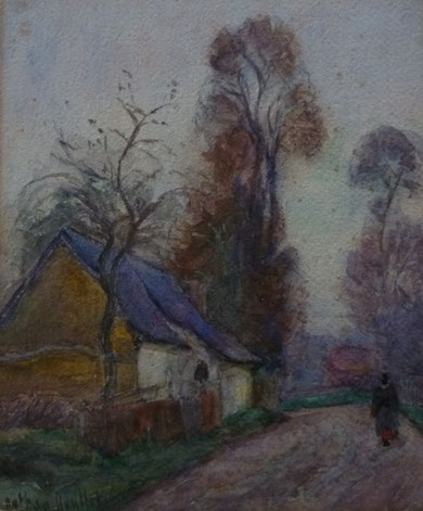 Petite maison du nord de la France au toit en ardoise d'un petit format: 27x22.