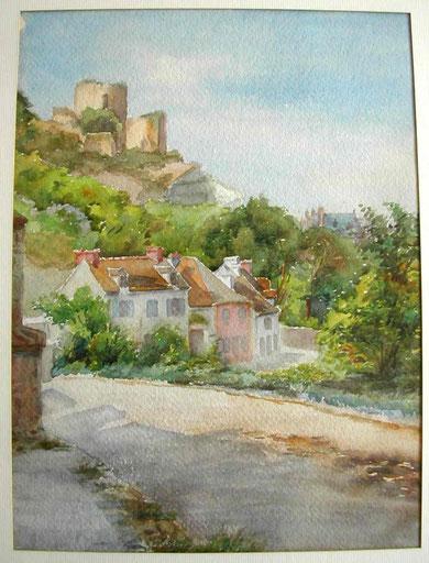 Aquarelle d'avant 1900. Vue du donjon de La Roche-Guyon depuis la route menant à Chérence.