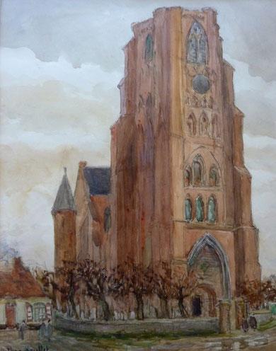 """Très """"Forte"""" église gothique avec son clocher-tour très imposant. Sans l'aide de Mathieu De La R... jamais nous n'aurions su que c'était l'église de Lissewege près de Bruges, datant de 1936."""