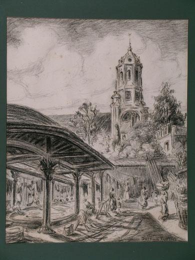 Lavoir et église.